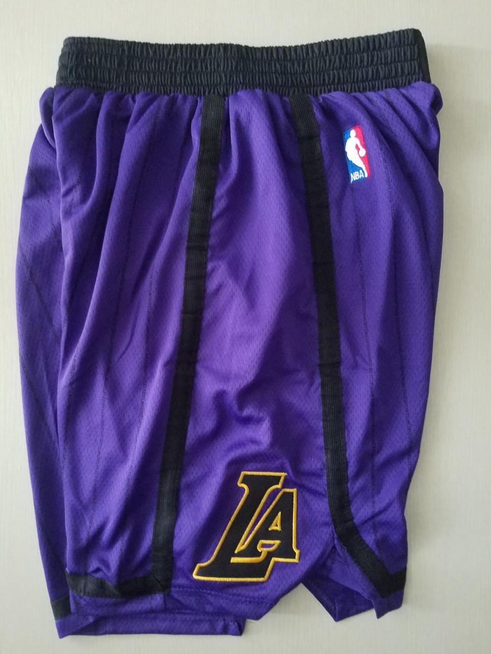 4524caac ... Баскетбольные шорты NBA Лос-Анджелес Лейкерс LA LAKERS фиолетовые в  полоску 2018 SWINGMAN фото 2 ...