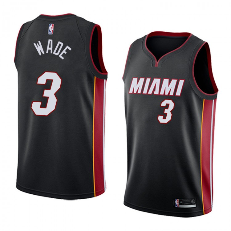 Баскетбольная майка NBA Майами Xит 2018 № 3 Дуэйн Уэйд черна