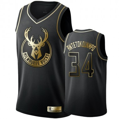 Баскетбольная майка NBA  Golden Edition 2019 Милуоки Бакс № 34 Яннис Адетокунбо черная — NBAform.ru